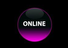 Rosafarbenes Neonbuttom online Stockbilder