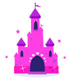 Rosafarbenes Prinzessinkarikaturschloß getrennt auf Weiß Lizenzfreie Stockfotos