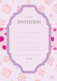Rosafarbenes Rosa der Einladung Lizenzfreie Stockbilder