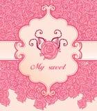 Rosafarbenes Roseeinladungsweinlese-Artfeld stock abbildung