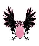 Rosafarbenes Schild mit Vogel. Stockfoto
