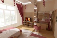 Rosafarbenes Schlafzimmer stockfoto