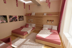 Rosafarbenes Schlafzimmer Lizenzfreies Stockfoto