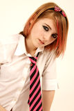 Rosafarbenes Schulmädchen Stockfoto
