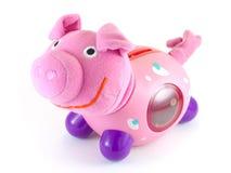 Rosafarbenes Schwein getrennt auf Weiß Stockfotografie