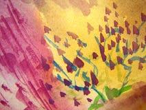 Rosafarbenes und gelbes Aquarell Lizenzfreie Stockfotografie