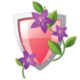 Rosafarbenes und silbernes Schild Stockfoto