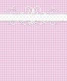 Rosafarbenes weißes Gingham-Muster, Spitze, Flourish Lizenzfreie Stockfotografie