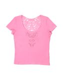 Rosafarbenes weibliches T-Shirt Stockfoto