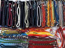 Rosaries are made of natural stone on turkish gift store stock photography