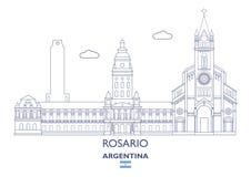 Rosario City Skyline, la Argentina ilustración del vector