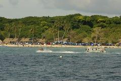 Rosario Islands är en skärgård som består av 27 öar som lokaliseras omkring två timmar av fartyget från Cartagena de Indias, Colom Arkivfoto