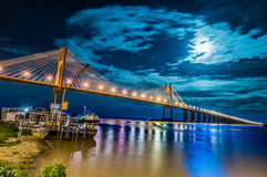 Rosario-Victoria Bridge across the Parana River, Argentina. Rosario-Victoria or Our Lady of Rosario Bridge between Santa Fe and Entre Ríos province Royalty Free Stock Images