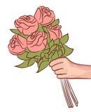 Rosarosenblume in der weiblichen Hand, die Blumenstrauß auf weißem Hintergrund hält Vektorzeichnungsillustration Stockbild