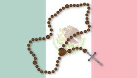 Rosary με τη μεξικάνικη σημαία Στοκ Εικόνες