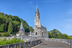 Rosary Basilica in Lourdes. Hautes-Pyrenees, France Stock Photo