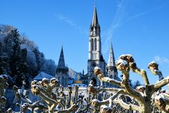 Rosary Basilica of Lourdes during winter Royalty Free Stock Images
