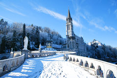 Rosary Basilica of Lourdes during winter Royalty Free Stock Photo