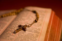 Rosary beads and breviary. The book of Catholic Church liturgy and rosary beads Stock Images