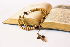 Rosary beads and breviary. The book of Catholic Church liturgy and rosary beads Stock Image