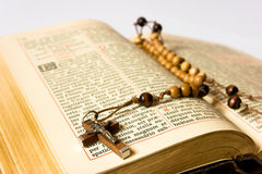 Rosary beads and breviary. The book of Catholic Church liturgy and rosary beads stock photo