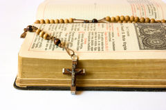 Rosary beads and breviary. The book of Catholic Church liturgy and rosary beads Royalty Free Stock Photos
