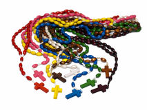 Rosary beads of different colors on a white background Stock Image