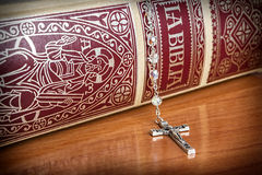 Rosary beads and a holy bible Royalty Free Stock Photo