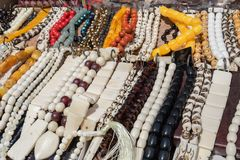 Rosary beads for sale. At street market royalty free stock photography