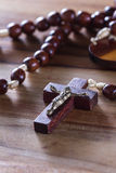 Rosary beads on a table Royalty Free Stock Photography