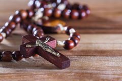Rosary beads on a table Royalty Free Stock Images