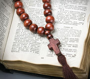 rosary and the Bible Stock Photos