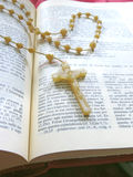 A rosary on the Bible Royalty Free Stock Photos