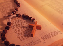 Rosary and Bible Stock Photo