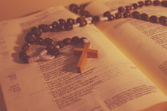 Rosary and Bible Stock Images