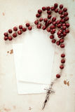Rosary and blank cards Royalty Free Stock Photos