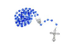 Rosary Blue on White Stock Photo