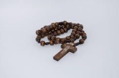 Rosary Catholic wood. Cross jesus Stock Photos