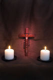 Rosary, Crucifix and Two Candles Stock Images