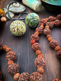 Rosary of dried fruits rudraksha tree Royalty Free Stock Images