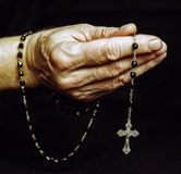 Rosary in hand. Of senior Royalty Free Stock Image