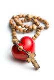 Rosary with heart of stone Royalty Free Stock Photos
