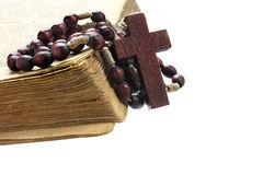 Rosary and old book Royalty Free Stock Photos