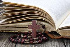 Rosary and open book Royalty Free Stock Photography