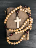 Rosary and prayer book Stock Photo