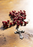 Rosary with red beads Stock Photo