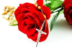 Rosary and rose Royalty Free Stock Images
