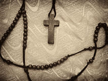 Rosary sepia toned Stock Photo