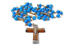 Rosary on white Stock Images