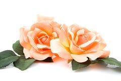 Rosas alaranjadas de seda Foto de Stock Royalty Free